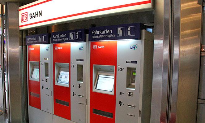 Автоматы для покупки билетов на поезда в Германии