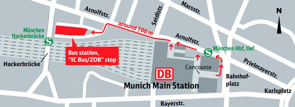 Маршрут от ж/д до автовокзала Мюнхена