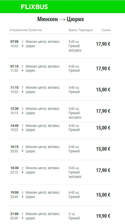 Расписание Flixbus от Мюнхена до Цюриха