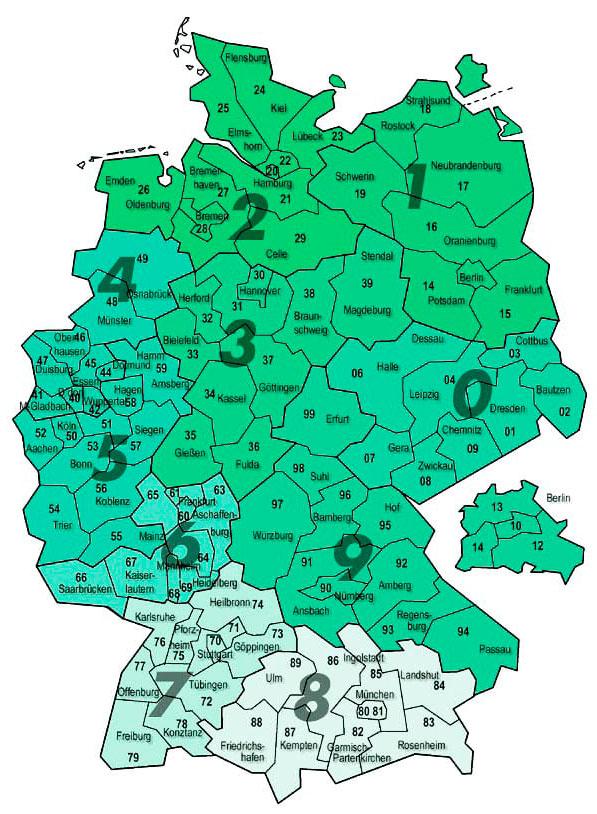 Карта почтовых индексов в Германии