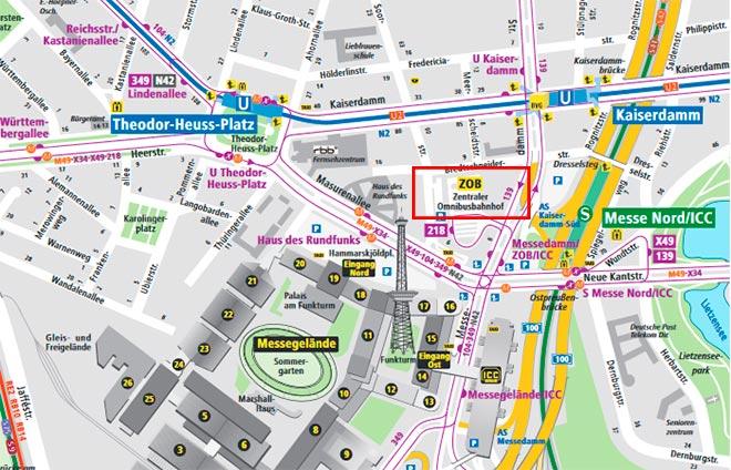 Расположение центрального автовокзала Берлина
