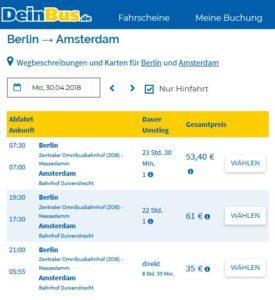 Расписание автобусов Deinbus из Берлина в Амстердам