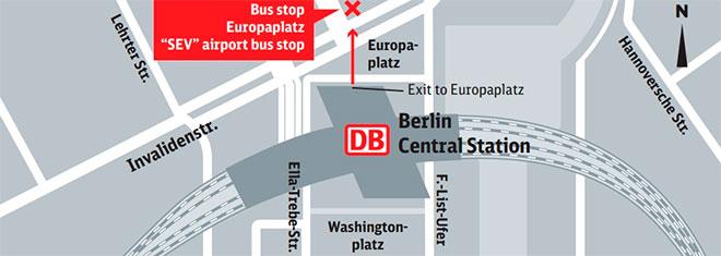 Расположение главного железнодорожного вокзала в Берлине