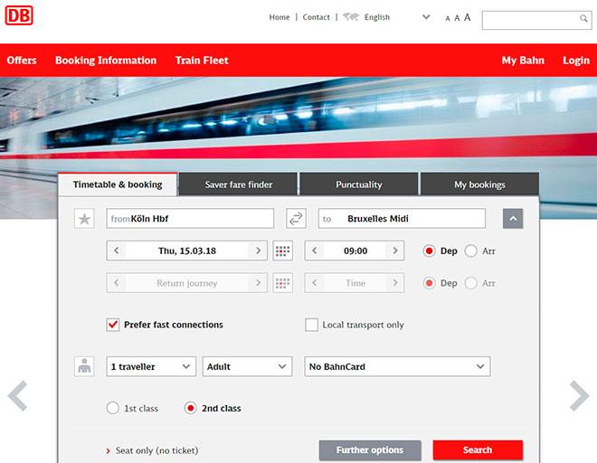 Покупка билетов через интернет на сайте Deutsche Bahn