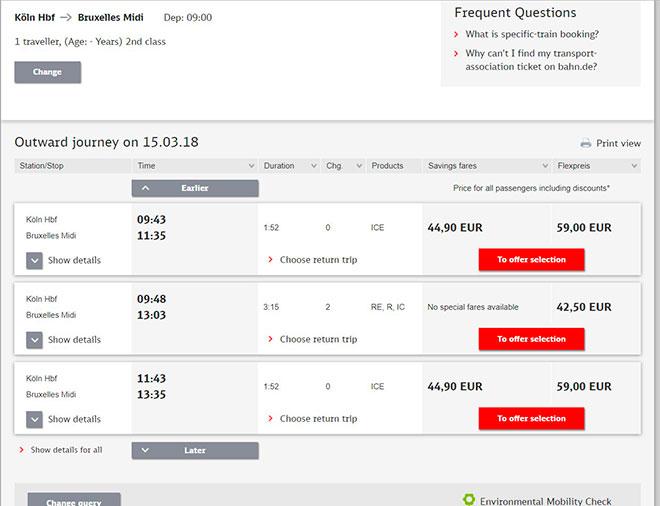 Покупка билетов на сайте DBahn