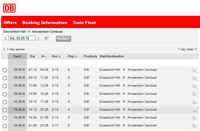 Расписание поездов из Дюссельдорфа в Амстердам