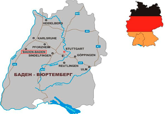 Баден-Баден на карте Германии