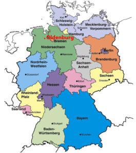 Ольденбург на карте Германии