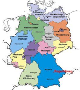 Регенсбург на карте Германии