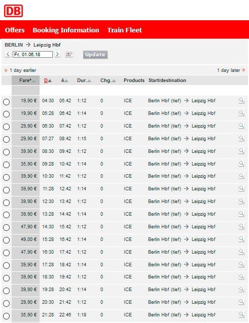 Расписание поездов из Берлина в Лейпциг
