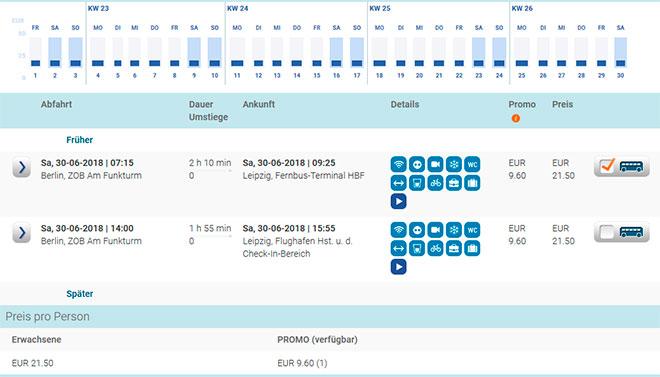Расписание автобусов из Берлина в Лейпциг