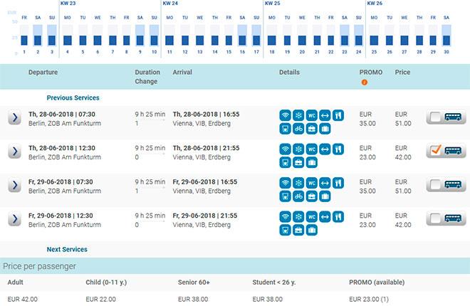 Расписание автобусов из Берлина в Вену