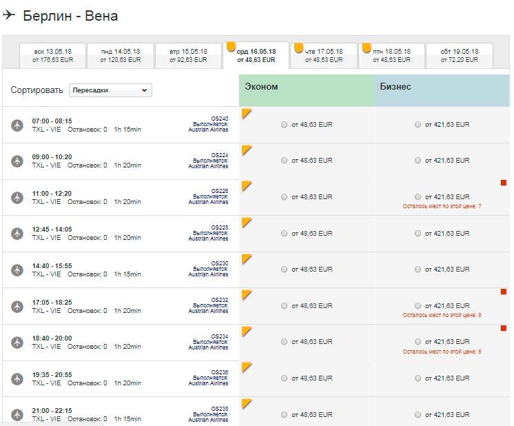 Расписание самолетов из Берлина в Вену