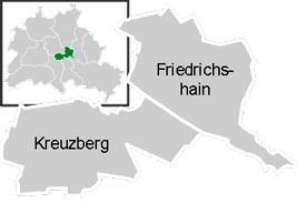Район Фридрихсхайн-Кройцберг (Friedrichshain-Kreuzberg) в Берлине