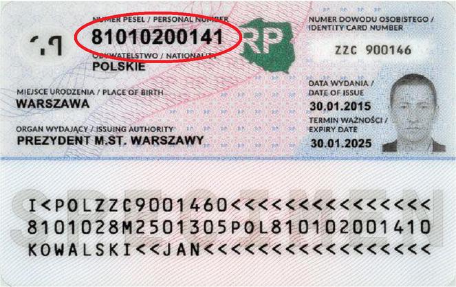 Номер PESEL на удостоверении