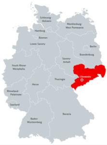 Хемниц на карте Германии