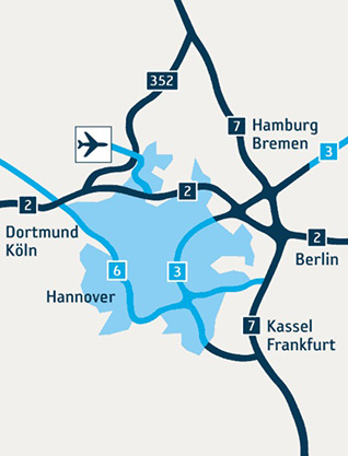 Схема дорог к аэропорту ганновера