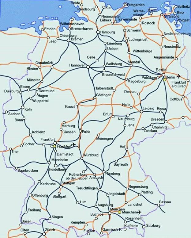 Карта железнодорожного сообщения Германии