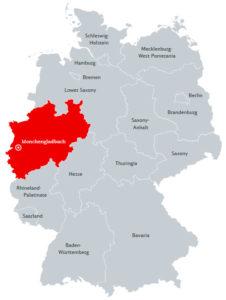 Мёнхенгладбах на карте Германии