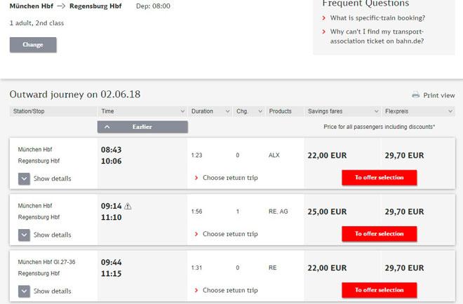 Покупка билетов на поезд из Мюнхена в Регенсбург