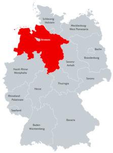 Бремен на карте Германии