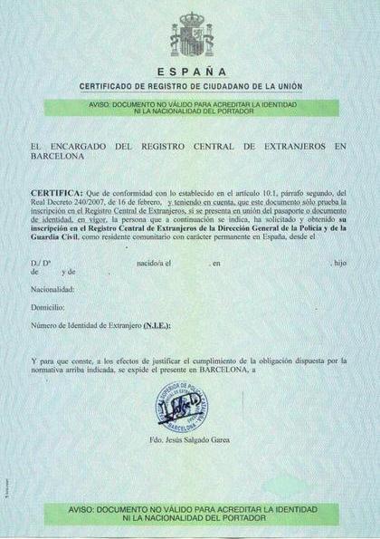 Сертификат NIE