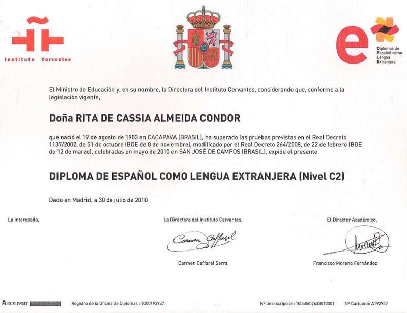 Сертификат о сдаче DELE