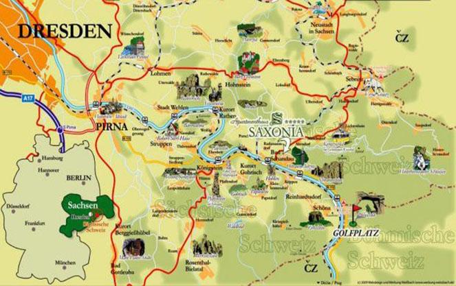 Карта саксонской Швейцарии
