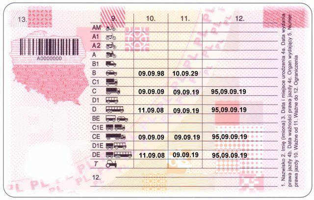 Пример водительского удостоверения