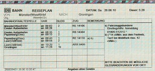 Железнодорожный билет в Германии