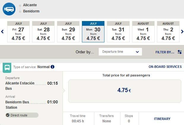 Расписание автобусов из Аликанте в Бенидорм