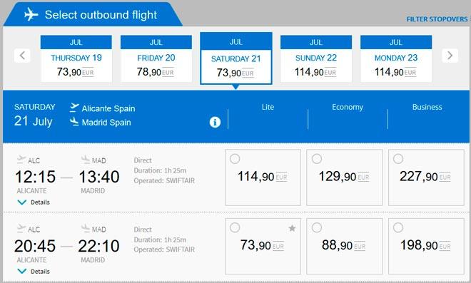 Расписание самолетов из Аликанте в Мадрид