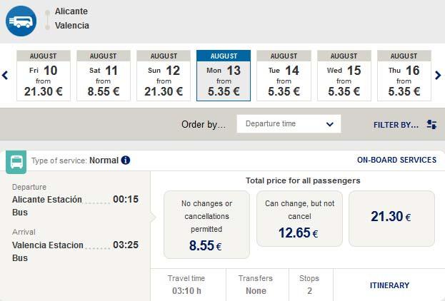 Расписание автобусов из Аликанте в Валенсию