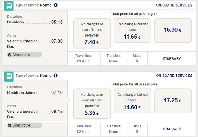 Стоимость проезда в автобусах ALSA из Бенидорма в Валенсию