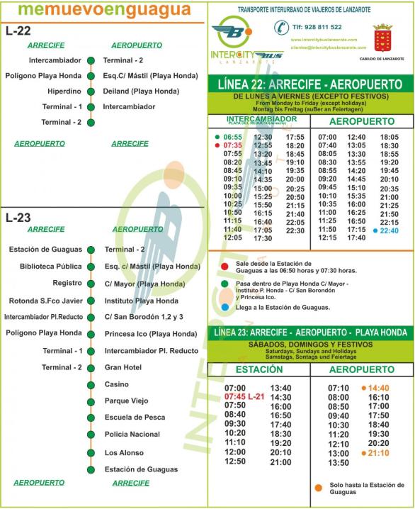 расписание автобуса № 22 из аэропорта Лансароте