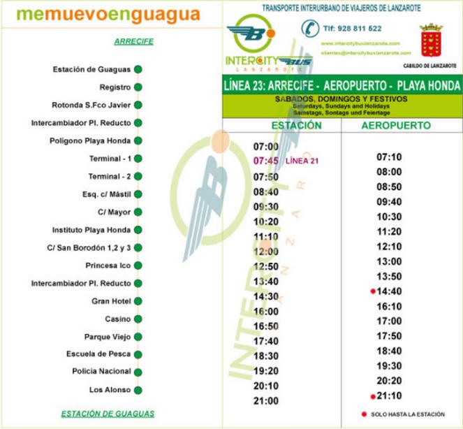 Расписание автобуса № 23 из аэропорта Лансароте
