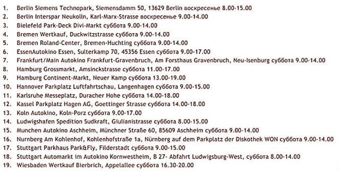 Список авторынков в Германии