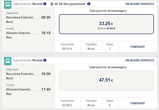 Расписание автобусов из Барселоны в Аликанте