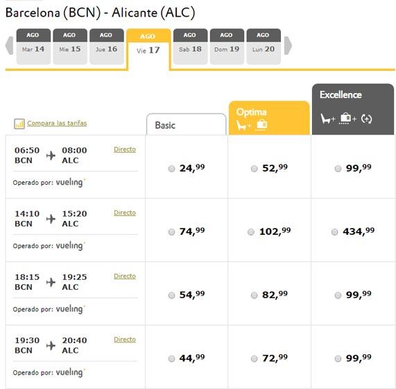 Расписание самолетов из Барселоны в Аликанте