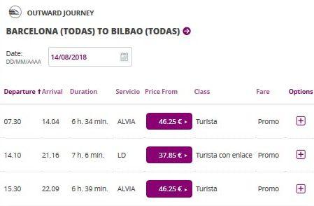 Расписание поездов Барселона-Бильбао