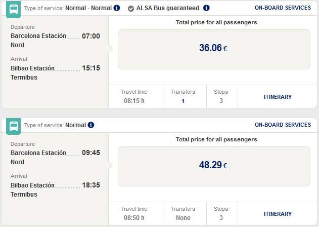 Расписание автобусов из Барселоны в Бильбао
