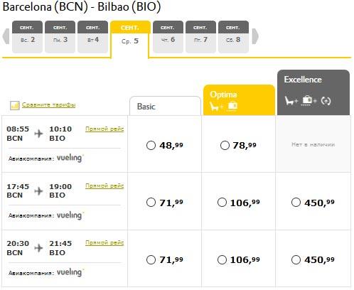 Расписание самолетов из Барселоны в Бильбао