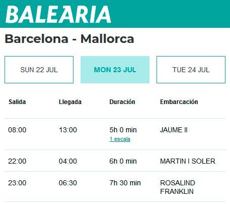 Расписание паромов из Барселоны до Майорки