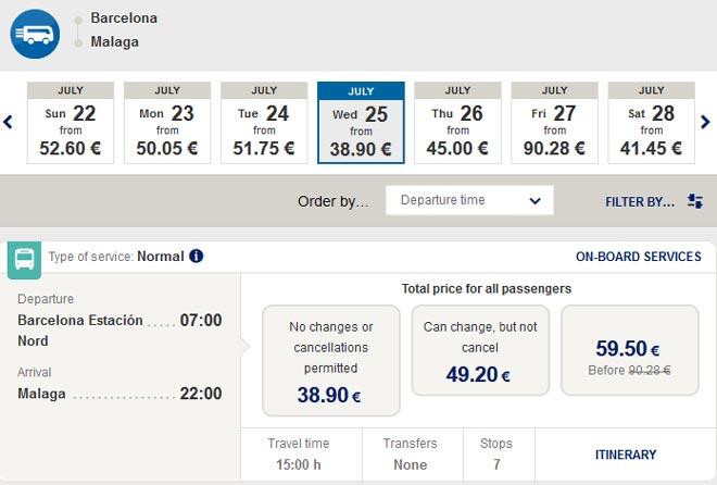Расписание автобусов ALSA из Барселоны в Малагу