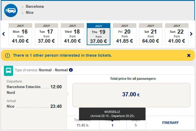 Расписание автобусов ALSA из Барселоны в Ниццу