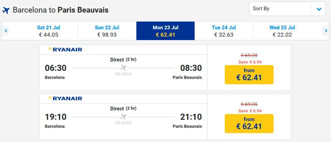 Расписание самолетов из Барселоны в Париж