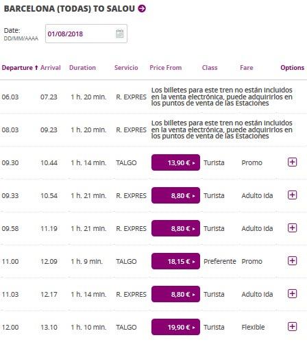 Расписание поездов из Барселоны в Салоу