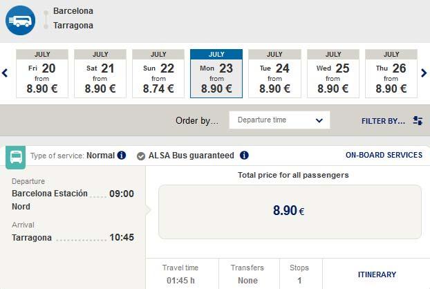 Расписание автобусов ALSA Барселона – Таррагона