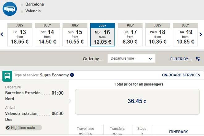 Расписание автобусов из Барселоны в Валенсию