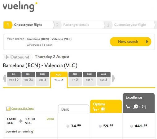 Рейсы Vueling из Барселоны в Валенсию